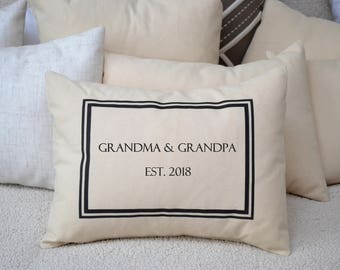 Pregnancy Reveal, Parents Gift, personalized pillow, Grandparents Day, Valentines Grandparents gift, Hard to buy for Grandparents handmade