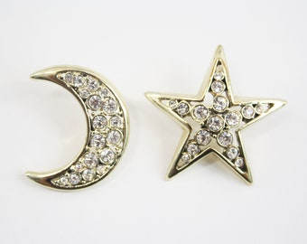 Retro Gold Tone and Rhinestone Celestial Star and Moon Vintage Earring Set