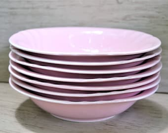 PINK PORCELAIN BOWLS Set of 7 Anchor Dinnerware Soup Cereal Bowls