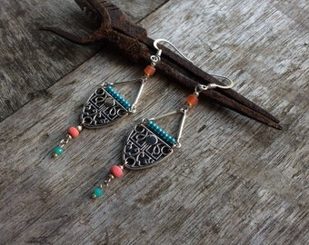 Turquiose/orange/pink Boho earrings, Boho chic earrings, Hippy earrings, Bohemina earrings, Czech glass earrings, Earthy, Tribal earrings.
