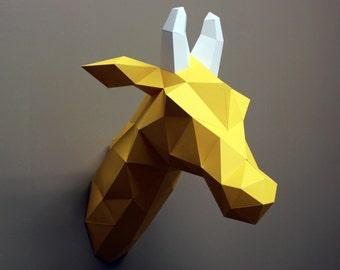 Louise the Giraffe- Papercraft, Giraffe, DIY Kit, Nursery Decor, Faux Taxidermy, Animal Head, Craft Kit, 3D Papercraft, Giraffe Gift