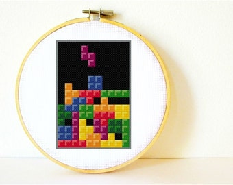 Counted Cross stitch Pattern PDF. Instant download. Tetris. Includes easy beginners instructions.