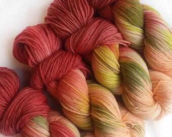 Hand dyed yarn, Rosey, 100% super wash merino wool, worsted weight yarn, red yarn, green yarn, peach yarn,