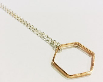 Hexagon Necklace, Rose Gold Hexagon Necklace, Sextuplet Jewelry, Minimalist Necklace, Rose Gold and Silver, Hexagon Pendant Necklace