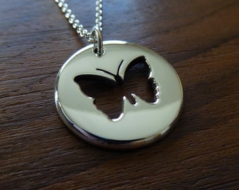 Handmade Silver Butterfly Pendant Necklace