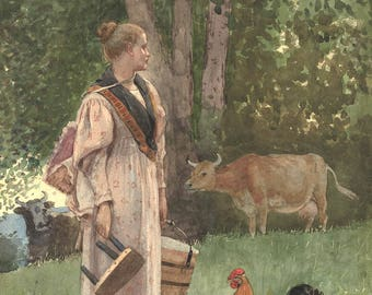 Winslow Homer Watercolor Reproductions. The Milk Maid, 1878. Fine Art Print.