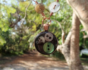 Resin jewelry, copper pendant, mixed media necklace, mixed media jewelry, button charm, button necklace, birthday present, sewing gift