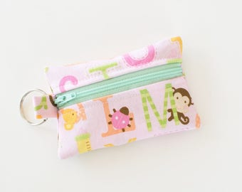 Zippered Pouch, Small Card Case, Ear Bud Case, ABC Sweet Baby Girl