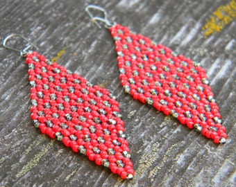 Red and Gunmetal Seed Bead Diamond Earrings