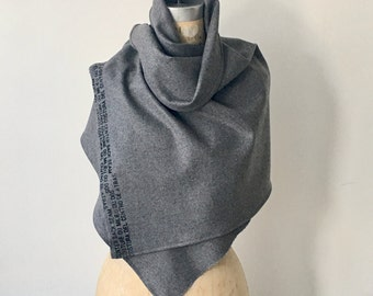Scarf, gray Wool, Winter Sale, Accessories, Text Screen Print Scarves, edgy fashion