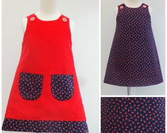 Girls Red Dress, Girls Reversible A line Pinafore Pinny Jumper Strawberries Corduroy