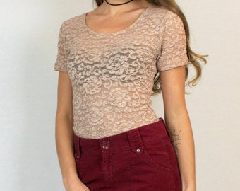 Vintage 80s 90s Lace Pink Semi Sheer Short Sleeve T-Shirt Top
