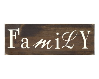Family Rustic Wood Sign Wall Decor Wooden Plaque (#1597)