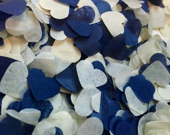 Navy blue and ivory heart wedding confetti - biodegradable