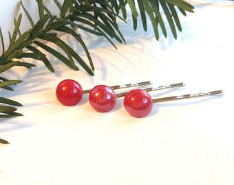 Red Hair Pins, Bobby Pins, Pin Up Girl, Cherry Red, Retro Style, Classic, 3 Bobbies, Glossy, Shiny, Set of 3, Accessories, Rockabilly, 50s