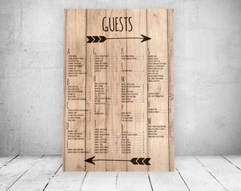 Wood Plank Wedding Seating Chart -- PRINTABLE DIGITAL FILE -- Guests -- Alphabetical -- Hand drawn arrows