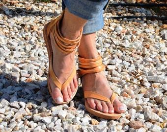 Handmade Leather Sandals, Ankle Strap Sandals, Leather Platforms, Greek Sandals, Women Sandals ''Eve''