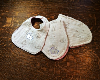 Bib and Burp Cloth Set, Baby Bib, Burp Cloth, Baby Gift Set,Baby Shower Gift