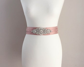 READY TO POST!  Dusky blush pink silk and crystal bridal sash, blush pink sash, silk sash