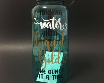 34 oz. Wide Mouth Water Tracker Water Bottle. Turning Water Into Liquid Gold One Ounce At A Time. Mint Bottle.