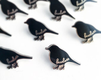 June Pin of the Month Fearless enamel pin - bird enamel pin - fearless bird pin - cute pin - small lapel pin