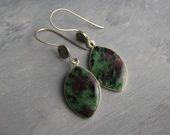 OOAK Sterling Silver Ziosite Gemstone Dangle Earrings