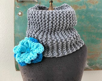 Reading Room Cowl - Slate Gray and Turquoise