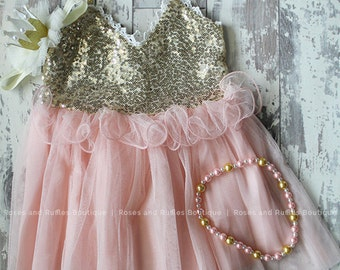 Pink & Gold Baby Dress, Pink and Gold Birthday Dress, Princess Dress, Baby Photo Prop, Toddler Dress, Baby Pageant Dress