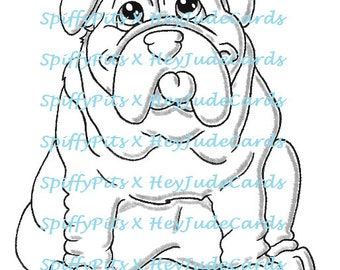 Digital Stamp or Coloring Page - Bulldog Dog Breed Stamp - A portion of every sale to RESCUES!!!