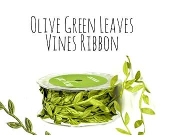 Olive Green Leaf Ribbon, Leaves, Vines Ribbon, Packaging Ribbon, Hair Ribbon, Gift Ribbon, Decoration, Gift Wrap Supply, Wedding Supplies