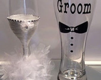 Bride and Groom Wedding Glasses Gift Names can be added