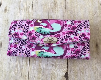 Accordion wallet, Fox wallet, Ready to ship, Gift for her, Ladies wallet, Wallet for women, Large wallet, Phone wallet, Clutch wallet