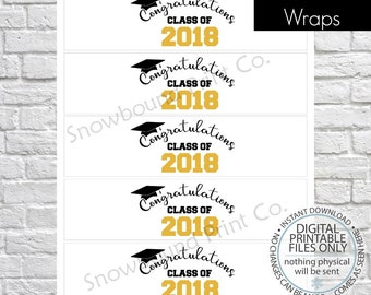 PRINTABLE Grad Bottle Labels, Class of 2018 Water Bottle Labels, Graduation Party, Grad Party Bottle Labels, Graduation Water Bottle Wraps