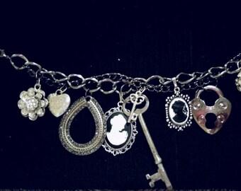 After Life Accessories Repurposed Charm Bracelet Gunmetal Rhinestones Key & Heart