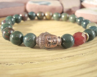 Bloodstone Bracelet - Buddha Bracelet with Faceted Carnelian Bead and Copper Buddha, Healing Crystal Bracelet for Health and Motivation