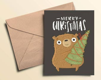 Merry Christmas Bear & Tree Holiday Cards
