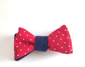 SALE - Reversible Red White and Blue Bow Tie