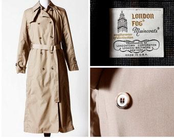Vintage Women's London Fog Trench Coat - 80's Retro Size 8 Medium M Made in USA