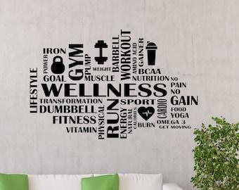 Gym Wall Decal Wellness Word Cloud Fitness Motivational Vinyl Sticker Sport Workout Poster Home Room Inspirational Art Decor Mural 117gy