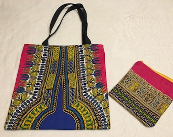 Dashiki Tote with matching pouch