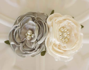 Flower hair comb, Gray, Grey and ivory satin and lace flower, Bride, Bridesmaid, Flower girl