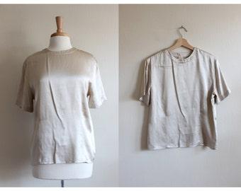 Vintage Short Sleeve Shimmer Gold Silk Top