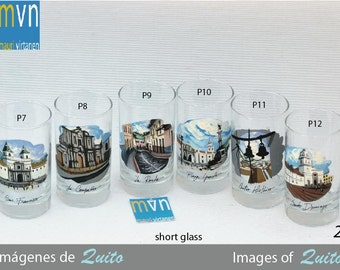 Images of Quito, set of artistic hand painted glasses, drinking glasses