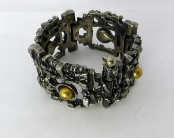 70s Boho Bracelet Robert Larin Canadian Brutalist Modernist Silver Plated Pewter and Brass Hinged Bracelet s 1970s