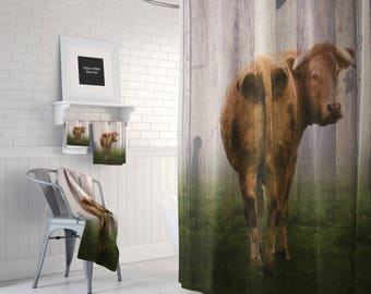 Farmhouse Chic  Rustic  Cow Shower Curtain,  Bath Mat, Bath Towels