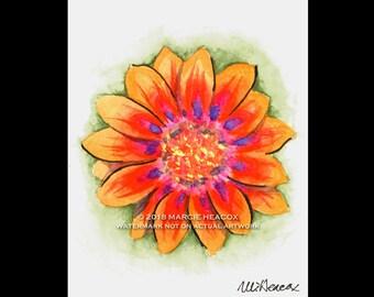Gazania Flower Original Watercolor Card – actual painting NOT A PRINT blank greeting card artwork ink orange red