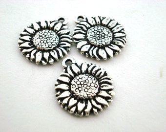 Sunflower Drops Antique Silver Tierracast 17mm Qty 4 Flower Charm Pendants
