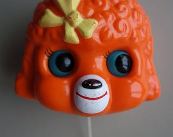 Vintage toy Sankyo orange poodle music box seventies musical pull string dog doggy baby soother crib toy