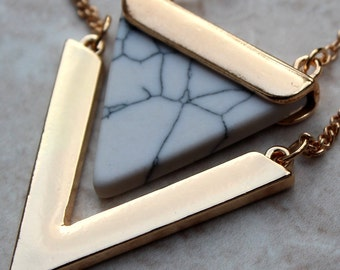 White Marble Geo Necklace