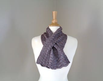 Keyhole Scarf with Slit, Shimmery Brown, Wool Blend Neck Warmer, Pull Through Scarf, Soft Fluffy, Lace Design, Women & Teen Girls, Hand Knit